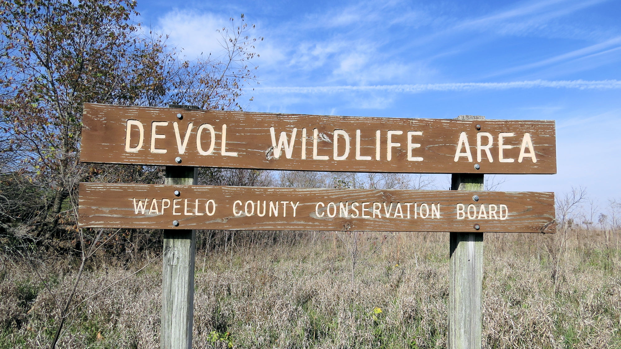 DeVol Wildlife Area sign